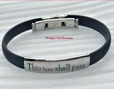 """Inspirational Bracelet """"This Too Shall Pass"""" Stainless Steel Black Silver"""