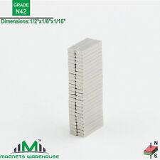 """50-count neodymium N42 NdFeb block magnets 1/2 x 1/8 x 1/16"""""""