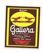 Unused 1940s 127mm CHILE San Pablo RON GALLERA RUM Cockfighting Label