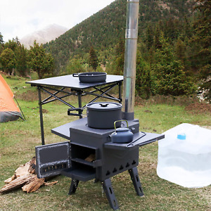 Outdoor Wood Burning Stove Chimney Portable Camping Heating Cooking Tent Heater