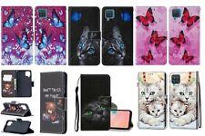 Book Style Handy Tasche Schutz Hülle Samsung A12  Katze Schmetterling Hund Bär