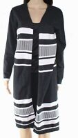 Allie & Rob Women's Cardigan Gray Size Large L Open Front Striped $44 #007