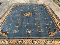 Antique Oriental Rug - Chinese 10x14 - Blue - Art Deco - handmade - wool