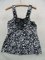 W3179 Hot Tempered Black/White Floral w/Crochet Top Women L