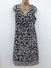 GEORGE MODA Cotton Summer Midi Dress Size 16 Black Cream Print, Flared WORN ONCE