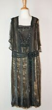 1890's Edwardian Evening Gown Black Bugle Beaded Gold Lame Formal Reception Gown