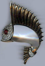 TRIFARI STERLING VINTAGE BEL GEDDES DESIGN JELLY BELLY RHINESTONE SAILFISH PIN
