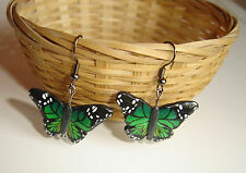 Pendientes mariposa verde artesanales