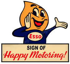 "Esso sign of Happy Motoring Digitally Cut Out Vinyle Autocollant. 4"" x 4"" OVERALL."