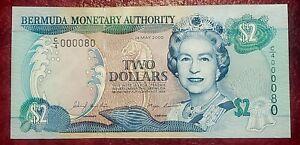 BERMUDA 2000 $2 CURRENCY NOTE~ P-50a  LOW 2-DIGIT SERIAL #000080 ~ GEM CRISP UNC