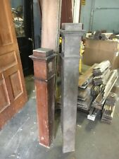 Pair c1900 mission style oak newel post bannisters 43/51.5� h x 7� & 5� square
