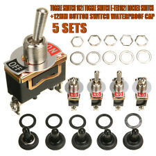 5pcs SPST 2Pin Car Boat 15A 250V ON/OFF Rocker Toggle Switch+Waterproof Boot New