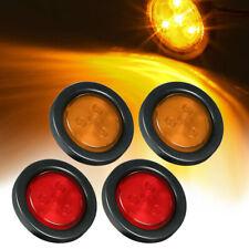 "12V/24V 2"" Round Lamp LED for Car Trailer Truck Side Markers Light 2Amber+2Red"