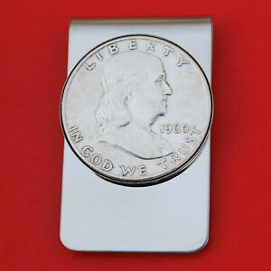 US 1948 - 1963 Franklin Half Dollar 90% Silver Coin Stainless Steel Money Clip