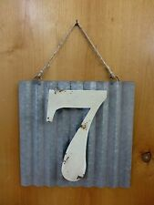 "10"" VINTAGE-STYLE CORRUGATED METAL SIGN NUMBER SEVEN #7 WHITE house address wall"