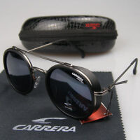 New Men Women Retro Sunglasses Round Windproof Matte Frame Metal Carrera Glasses