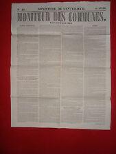 JOURNAL LE MONITEUR DES COMMUNES MINISTERE DE L'INTERIEUR N°16 - 18 AVRIL 1862