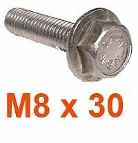 M8 x 30 Stainless Hexagon Flange Bolts - 8mm x 30mm HEX FLANGED Bolts x5
