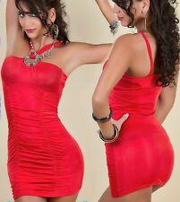 SeXy Miss Damen Gogo Mini Kleid Party Dress gerafft Ringe 34/36/38 TOP rot NEU