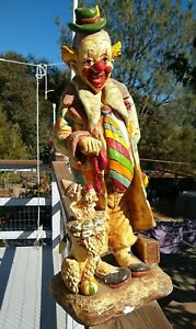 """Anne-Jo   Copyright   1982   Clown  with  Dog Statue   Signed   20"""""""