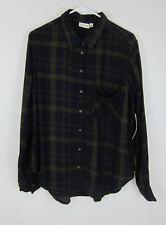 RD Style Green Plaid Button Down Shirt - Womens Large - NWT