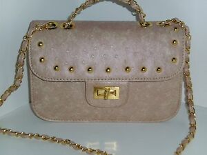 BNWT Intrigue Small Nude Faux Ostrich Embossed  Bag H 15 x W 25 x D 7 cm