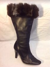 Barratts Black Mid Calf Leather Boots Size 4