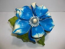 Vintage Lucite Resin FLOWER Figurine BLUE WHITE 8""