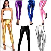 Women's Ladies Stretch Shiny American Metallic Disco Wet Look Legging Pants new