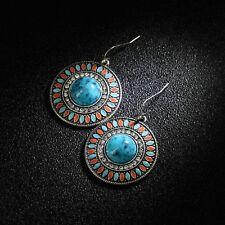 Boucles d'Oreilles Doré Rond Boheme Bleu Turquoise Rouge Multicolore Ethnique E2