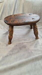 19th century Rustic Handmade - Wooden  Footstool/Milking Stool lovely Patina
