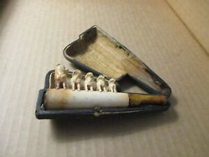 ANTIQUE MEERSCHAUM  AMBER CIGARETTE HOLDER BOXER DOGS ORIGINAL CASE G303 PH