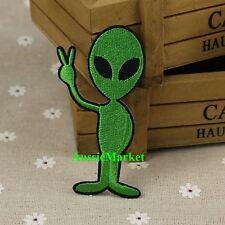 1 x alien patch patches badge iron on sew on ufo martian seti roswell green new