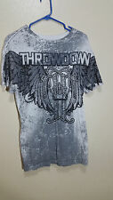 Throwdown by Affliction Mens White Black and Gray Wings Crown - Medium