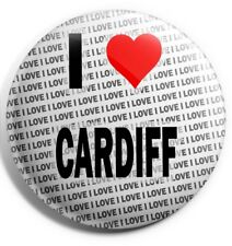 "I Love Cardiff Pin Badge 3"" 75mm  - Gift - Birthday - Stocking Filler"