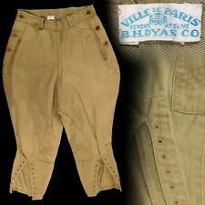 Vintage 1910s 1920s Ville De Paris B.H. Dyas Co Khaki Breeches 25x18.5