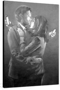 Banksy Mobile Phone Lovers canvas wall art Wood Framed Ready to Hang XXL