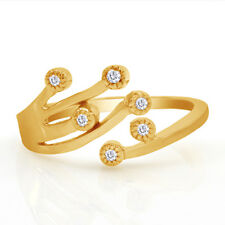 Zirconia 10Kt Solid Yellow Gold Stamped Adjustable Toe Ring With Cubic