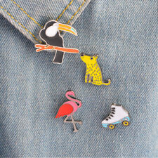 Enamel Brooches Pin Collar Badges Jewelry 4 Piece/Set Cartoon Animal Skate Shape