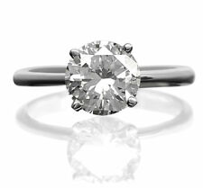 ROUND SHAPE DIAMOND RING AGI CERTIFIED SOLITAIRE 18 KT WHITE GOLD SIZE 6 7 8