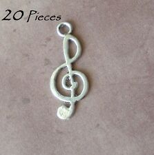 20 Treble Clef Charm Pendants For Jewelry Making