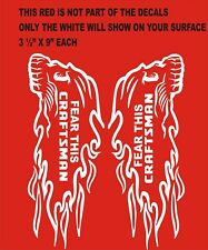 """PAIR- CRAFTSMAN FEAR THIS  FLAMING HEAD  DECALS-STICKERS 1L & 1R SIDE 3 1/2""""X9"""""""