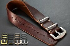 Bracelet montre NATO en cuir,Zulu militaire strap,adapté à la main Omega,18-24mm