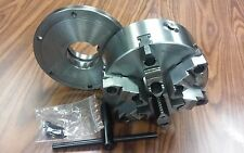 """8"""" 6-JAW SELF-CENTERING  LATHE CHUCK w. top&bottom jaws, L0 adapter back plate"""