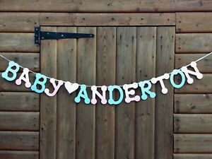 GENDER REVEAL BABY SHOWER BUNTING (ANY NAME) PERSONALISED BANNER