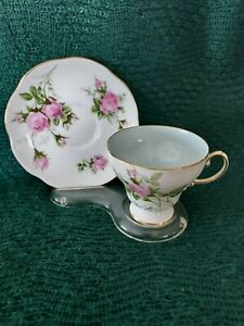 EB FOLEY CUP SAUCER PINK ROSES BLUE INSIDE THE CUP ENGLAND