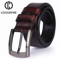 Luxury Genuine Leather Mens Belt Black Brown Buckle Waist Men Jeans Cowboy Belts