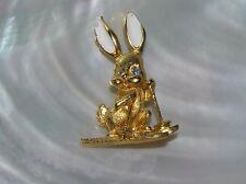 Vintage Small Goldtone Bunny Rabbit on Skiis with White Ears & Blue Rhinestone