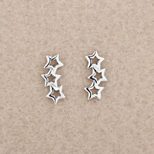 Women 925 Sterling Silver Jewelry Elegant Crystal Ear Stud Hollow Stars Earrings