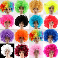 AFRO FUNNY  CURLY CLOWN PARTY 70s 80s WIG DISCO CIRCUS COSTUME DRESS UP FANCY